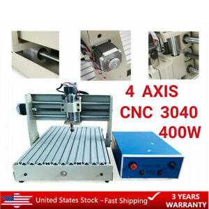4 Axis 3040 400w Cnc Router Engraver Drilling Milling Wood 3d Diy Cutter Machine