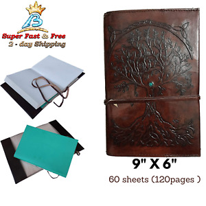 Antique Journal Diary Leather Bound Memo Pad Notebook Leather Refillable 120page