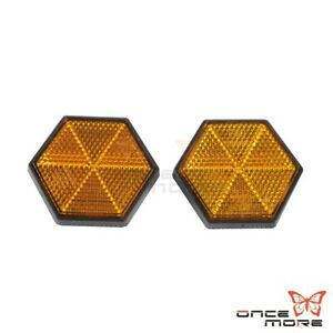 2x Hexagon Plastic License Plate Reflector Stickers For Car Truck Scooter Atv