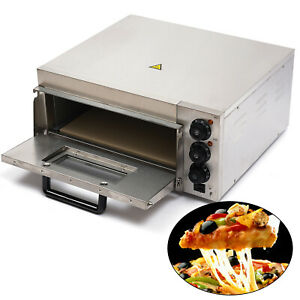 Stainless Electric Pizza Oven Bread Making Machine Fire Stone Toaster 2kw 110v