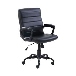 Mainstays Bonded Leather Mid back Manager s Office Chair Black New Free Fast Sh