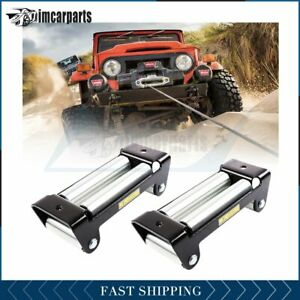 2x 10 Bolt Pattern Winch Roller Fairlead 4 Way Roller Cable Guide