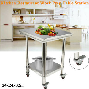 24x24x32in 2 tier Kitchen Restaurant Work Food Prep Table Station With 4 Wheels