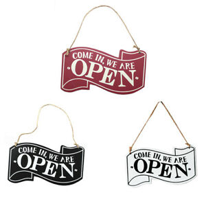 Double sided Wooden With Rope Home Open Closed Sign Durable Hanging Board Shop