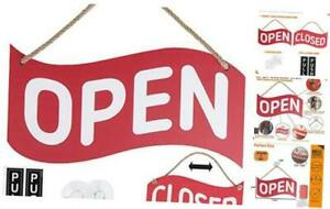 Open Closed Sign For Business Bundle With 2 Suction Cup Pull And Push Red