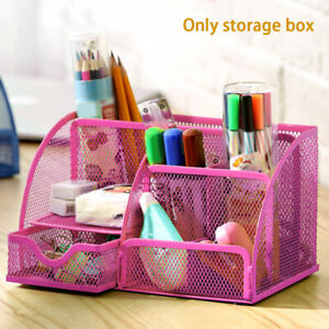 Desk Organizer Metal Container Box Mesh Stationery Supplies Multi functional