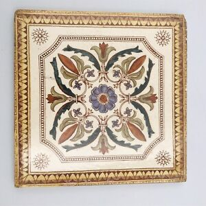 1880 S 90 S Antique Tile Made In England Brown Blue Floral Unmarked
