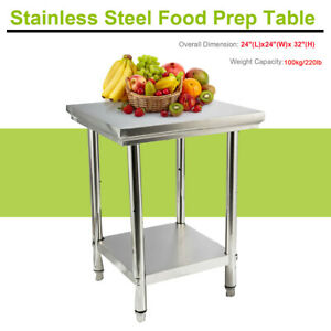 Stainless Steel Work Table Metal Kitchen For Prep work 24 x24 x32 for Home hotel