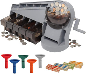 Hand Crank Coin Sorter Counter Machine Tubes Coin Wrappers All Us Coins