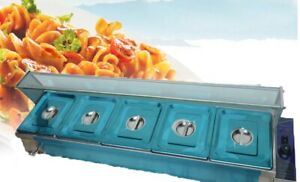 Commercial Steamers 5 pan Bain marie Buffet Food Warmer With Glass Construction
