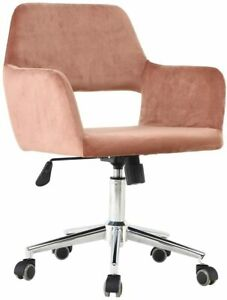 Velvet Fabric Home Office Chair With Arms And Adjustable Height Small Space Pink