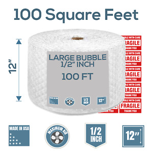 Bubble Cushioning Wrap 100 Ft X 12 Perforated Every 12 1 2 Large Bubble