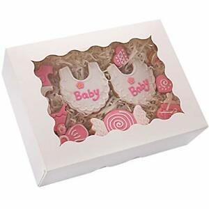 Tcoivs 30 pack Cookie Boxes 8 X 6 X 2 5 Small Bakery Boxes With Window Aut