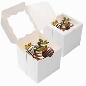 50 Pcs Bakery Boxes With Window Cookie Boxes For Gift Giving 4x4x4 Incheswhite