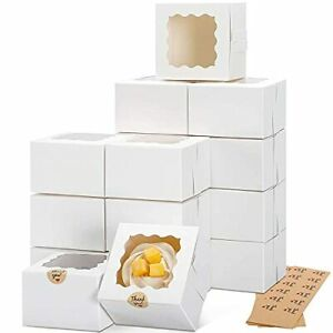 Moretoes 50pcs 4x4x2 5 Inches White Bakery Boxes With Window Cookie Boxes Min