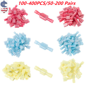 Female male Full insulated Crimp Terminals Nylon Spade Wire Connectors 100 Pairs