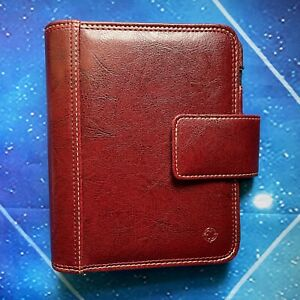 Red Faux Leather Classic Franklin Covey Planner Binder Organizer Magnetic Flap