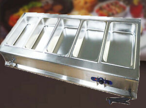 Commercial Electric Five Full Size Pan Bain marie Buffet Food Warmer 110v 1800w