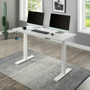 Height Adjustable Electric Standing Desk Home Office Computer Desk Table White