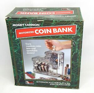 Vintage Clear Money Cannon Motorized Coin Bank Change Sorter Wrapper 1996 Usa