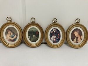 Set Of 4 Vintage Small Oval Framed Picture Prints Victorian Style Romantic