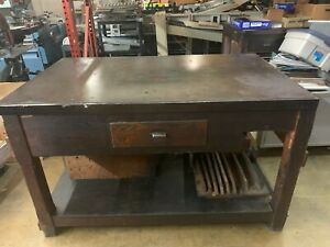 Antique Hamilton Wooden Composing Table With Steel Top