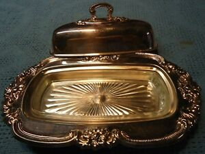 Vintage Gorham Silverplate Butter Dish With Glass Insert