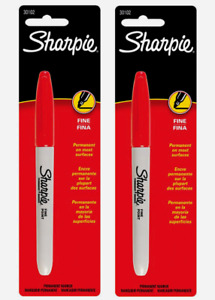 2 Sharpie Fine Tip Red Permanent Marker 1pk Thin Line Water fade Resistant 30102