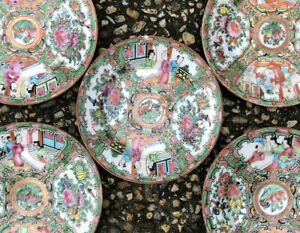 Set Of 5 Antique Canton China Famille Rose Medallion Bowls 19th C 6