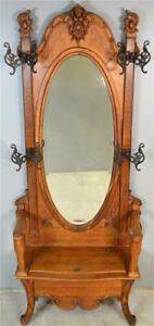 19811a Victorian Oak Carved Large Oval Bevel Glass Mirror Lift Top Hall Tree