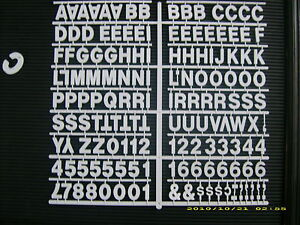 New White 1 Menu Message Board Letters Numbers Periods hyphens comma s