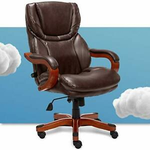 Big And Tall Executive Office Chair With Wood Accents Adjustable High Brown