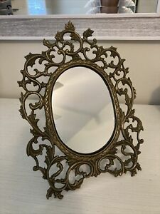 Vintage Victorian Style Brass Frame Standable Vanity Table Top Makeup Mirror
