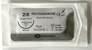 2 0 Pdo pds Surgical Suture Polydioxanone 30 Mm Reverse Cutting 12ct 1 Box