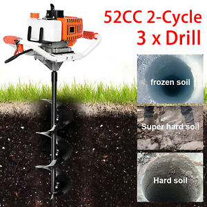 52cc Earth Auger Gas Powered Post Hole Digger Machine Power Engine W 3 Drill Bit