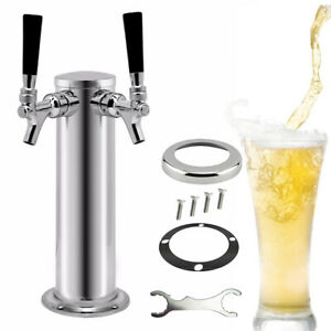 Double Taps Home Draft Beer Tower Dispense Kegerator 2 Faucets Stainless Steel