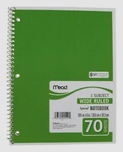 Mead Spiral Notebook Paper Pad Wide Ruled 3 Hole Assorted Colors 8 x10 5 70 Sht