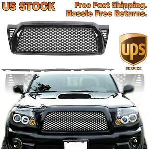 For 05 11 Toyota Tacoma Honeycomb Mesh Black Front Bumper Hood Grill Grille Fits 2007 Toyota Tacoma