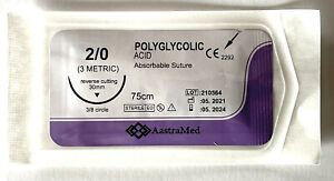 2 0 Pga Surgical Suture Polyglycolic Acid 30 Mm Reverse Cutting 12ct 1 Box