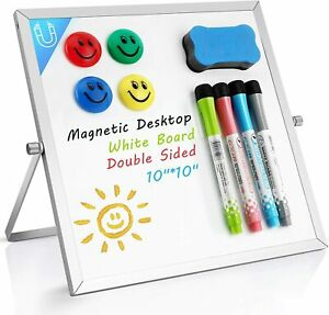 Small Dry Erase Board 10 x10 Desktop Whiteboard W Stand Magnetic Double Sided