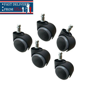 5 Pcs Replacement Swivel Office Chair Wheels Kit Casters Universal Fit Set New