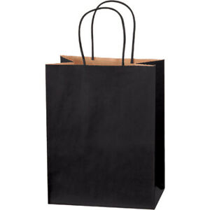 8 X 4 5 X 10 25 Black Tinted Paper Kraft Mailers Shopping Bags 500 Pack