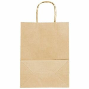 250 Natural Brown Kraft Paper Shopping Bags With Handle 8 X 4 1 2 X 10 5 8
