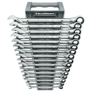 Gearwrench X Large Ratcheting Combination Wrench Tool Set Metric 72 Tooth 16 Pc