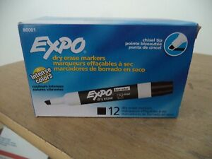 Lot 2 Boxes Expo Chisel Dry Erase Markers For Whiteboards 80001 Black 24 Total