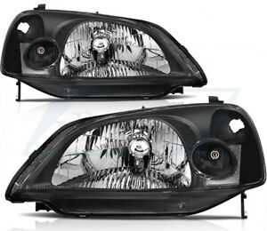 For 2001 2003 Honda Civic Headlight Clear Headlamps Replacement Left Right Sides