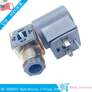 For Hydraforce 6306012 Solenoid Valve Coil 3 Prong Din Connector 12v Dc Size 08