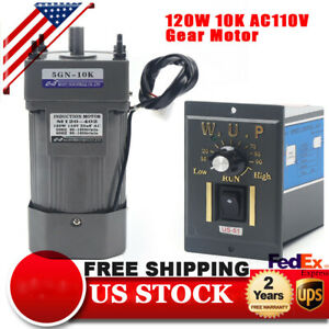 110v 120w Ac Gear Motor Electric Variable Speed Reduction Controller 1 10 135rpm
