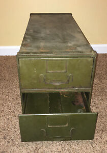 General Fireproofing Company Industrial Modular Transfer File Cabinet Army Green