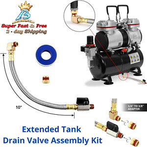 Air Compressor Tank Hose Drainer Extension Drain Tube Valve Assembly 1 4 3 8